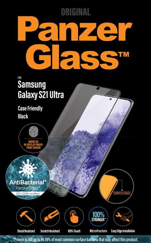 Antibakteriálne ochranné sklo displeja PanzerGlass Case Friendly pre Samsung Galaxy S21 Ultra, čierna
