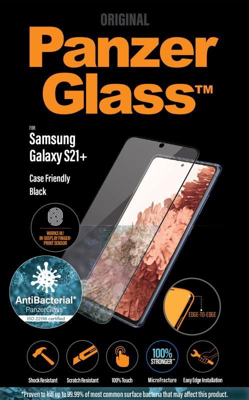 Antibakteriálne ochranné sklo displeja PanzerGlass Case Friendly pre Samsung Galaxy S21 +, čierna