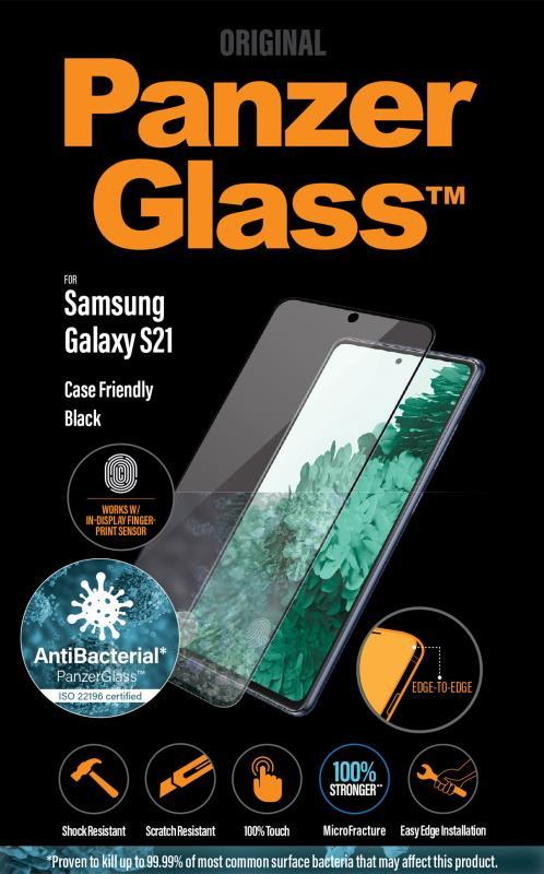 Antibakteriálne ochranné sklo displeja PanzerGlass Case Friendly pre Samsung Galaxy S21, čierna