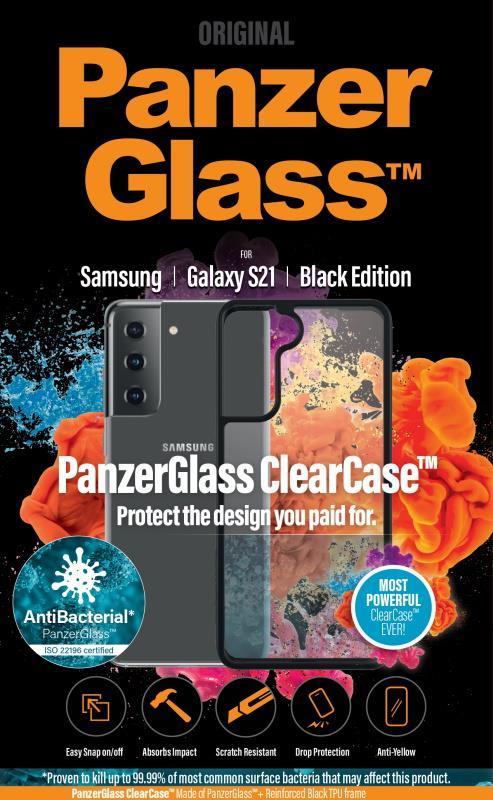 Antibakteriální ochranný kryt PanzerGlass ClearCase pro Samsung Galaxy S21 černý