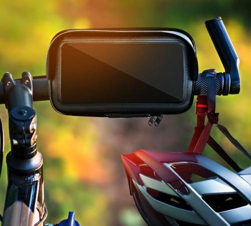 """Držák na kolo s voděodolným pouzdrem a štítem 4,8"""" - 5,5"""""""