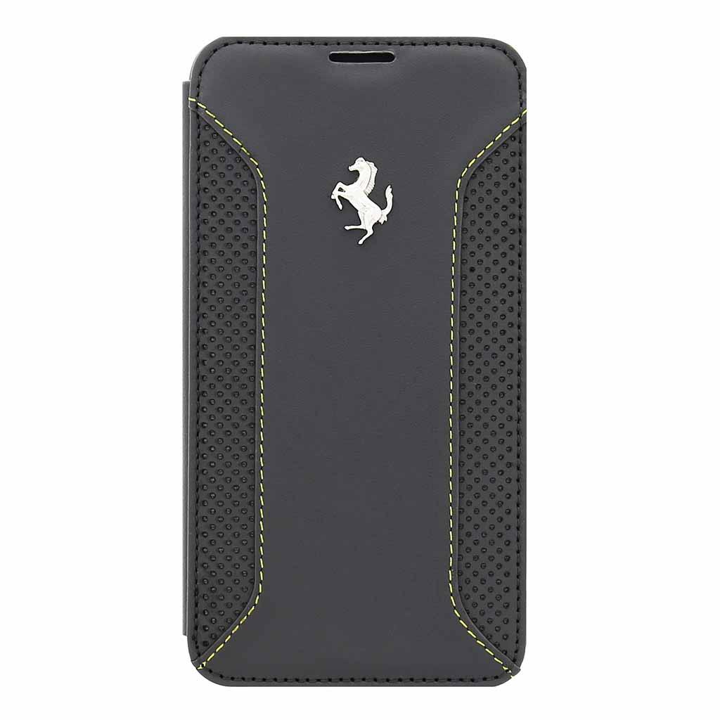 FEF12FLBKS5DG Ferrari Kožené Folio Pouzdro Dark Grey pro Samsung G900 Galaxy S5