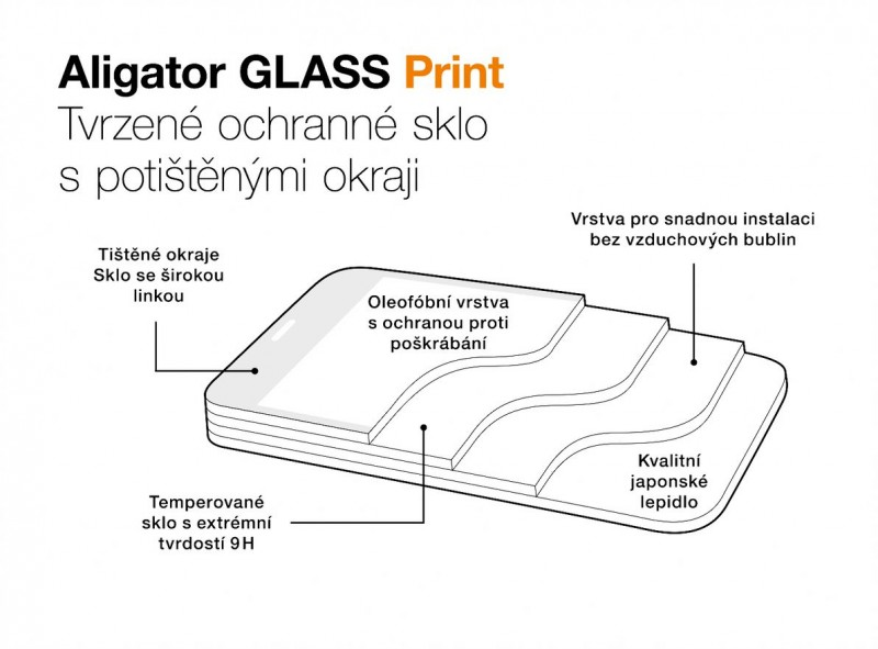 Ochranné tvrzené sklo ALIGATOR PRINT, Samsung A72 (5G), černá, celoplošné lepení