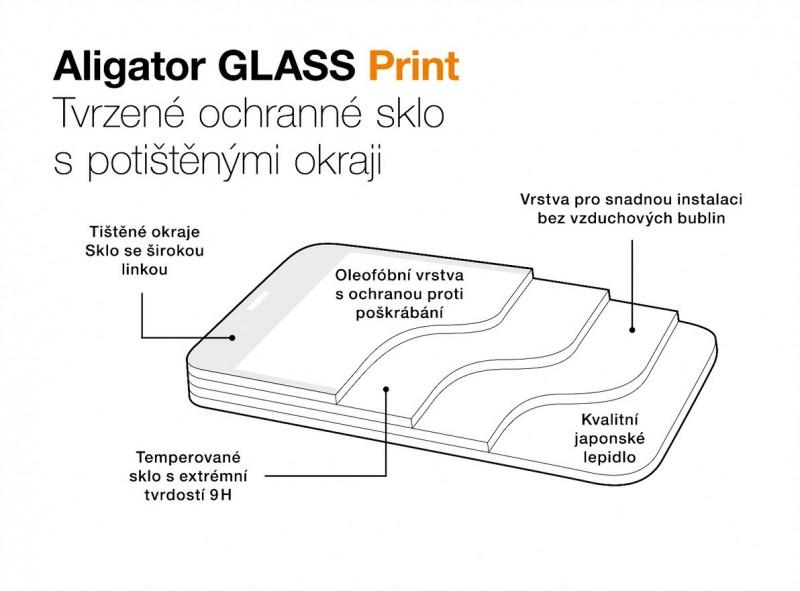 Ochranné tvrzené sklo ALIGATOR PRINT, Samsung A52 (5G), černá, celoplošné lepení