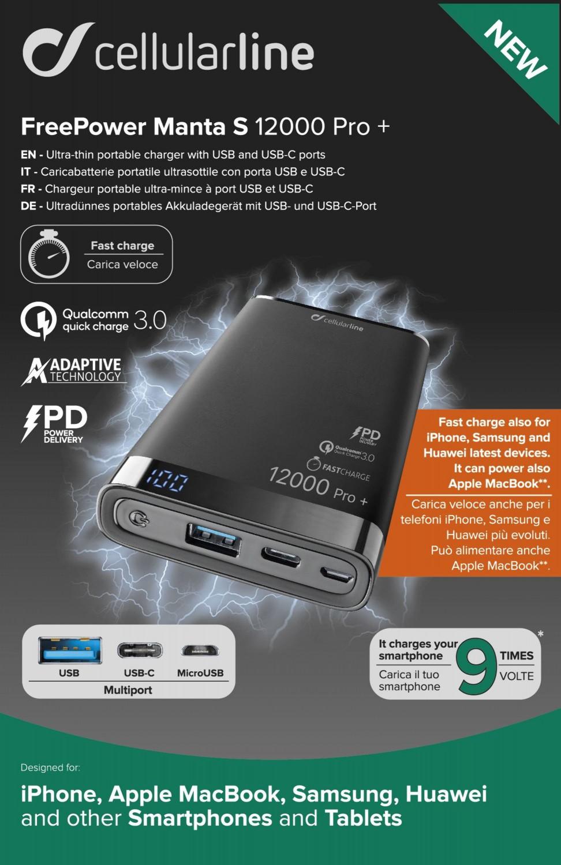 Prémiová powerbanka CellularLine FREEPOWER MANTA PRO+, 12000mAh, USB-C + USB port, Qualcomm® Quick Charge™ 3.0, černá