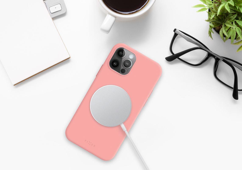 Zadní kryt FIXED MagFlow s podporou Magsafe pro Apple iPhone 12 Pro Max, růžový
