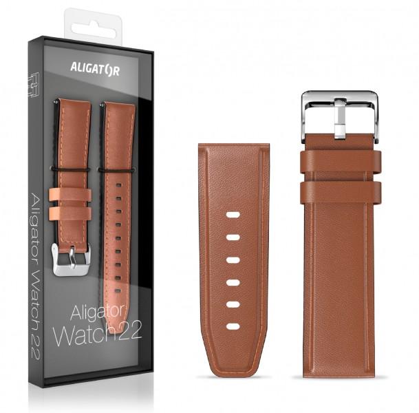 Kožený řemínek ALIGATOR 22mm, hnědá