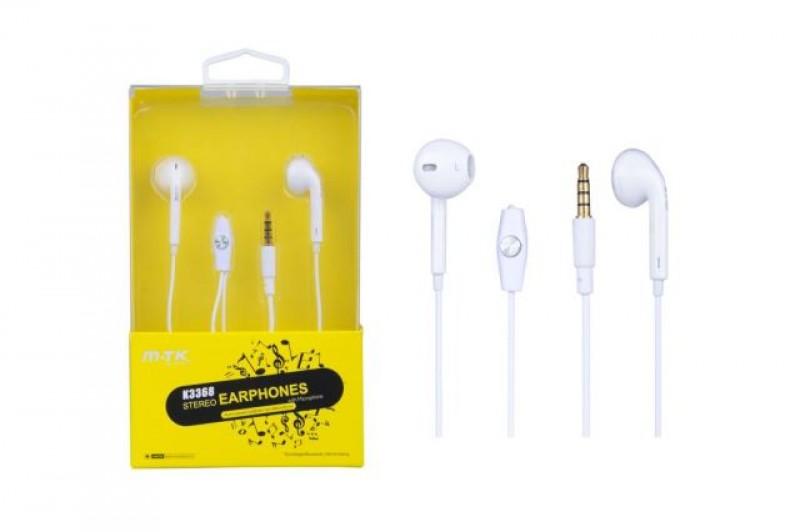 Sluchátka do uší PLUS, s mikrofonem, (K3368), bílá