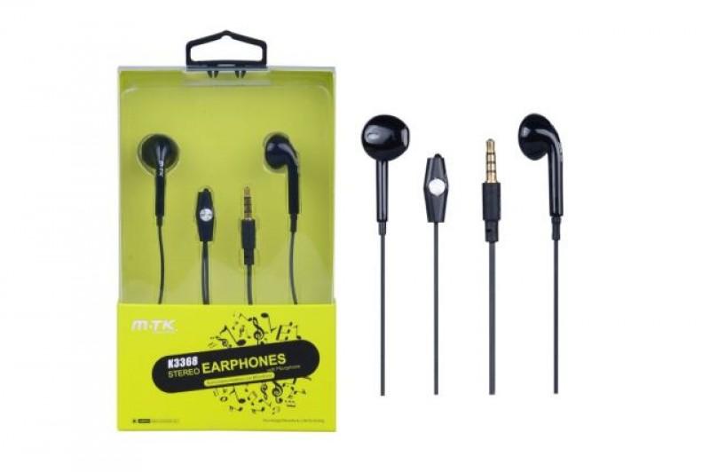 Sluchátka do uší PLUS, s mikrofonem, (K3368), černá