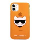 Silikonové pouzdro Karl Lagerfeld Choupette Head KLHCP12LCHTRO pro Apple iPhone 12 Pro Max, oranžová