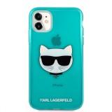 Silikonové pouzdro Karl Lagerfeld Choupette Head KLHCP12LCHTRB pro Apple iPhone 12 Pro Max, modrá