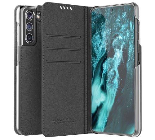 Flipové pouzdro ARAREE Mustang pro Samsung Galaxy S21 Ultra, charcoal grey