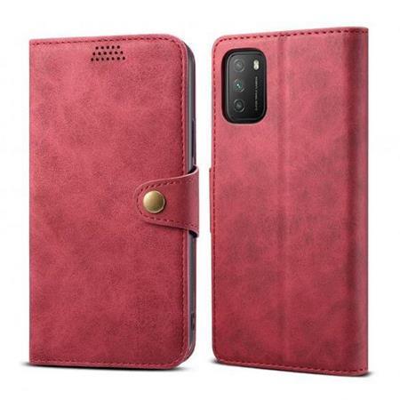 Lenuo Leather flipové pouzdro pro Poco M3, red
