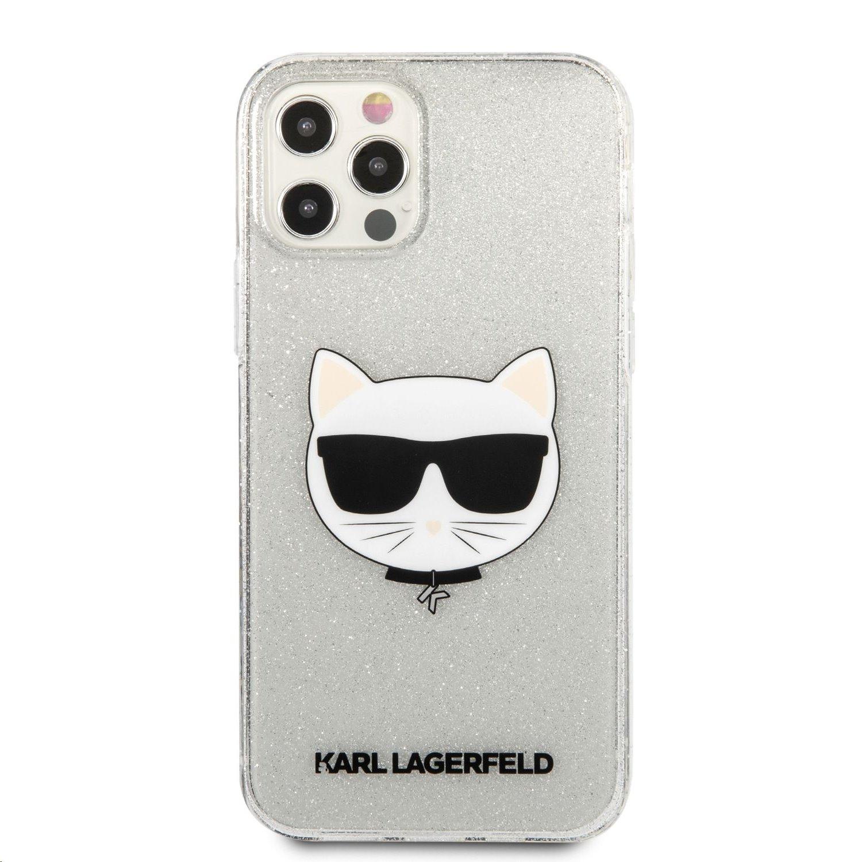 Silikonové pouzdro Karl Lagerfeld Choupette Head Glitter KLHCP12LCHTUGLS pro Apple iPhone 12 Pro Max, stříbrná
