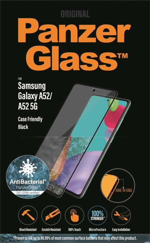 Antibakteriální ochranné sklo displeje PanzerGlass Edge to Edge pro Samsung Galaxy A52/A52 5G, černá