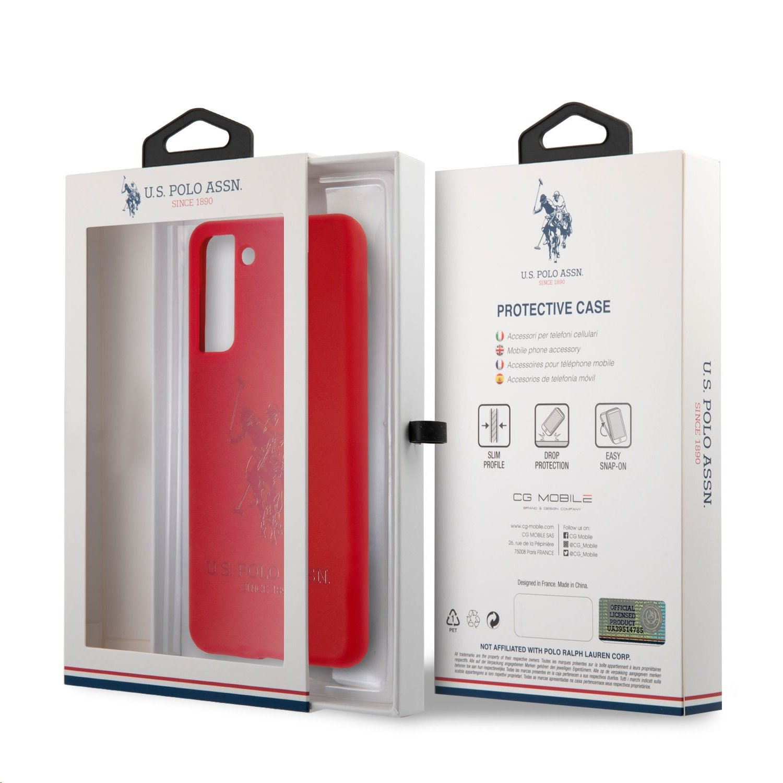 Silikonový kryt USHCS21LSLHRTRE U.S. Polo Double Horse pro Samsung Galaxy S21+, red