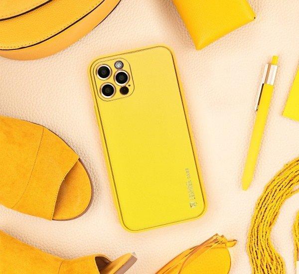 Ochranný kryt Forcell LEATHER pro Apple iPhone 7, 8, SE 2020, žlutá