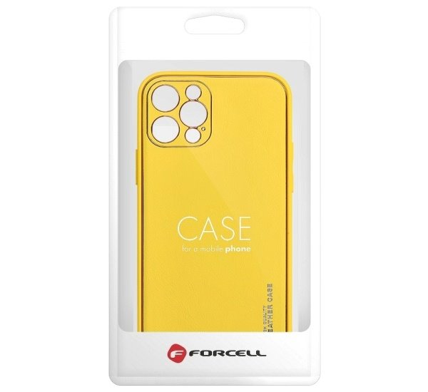 Ochranný kryt Forcell LEATHER pro Apple iPhone 12, žlutá