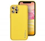 Ochranný kryt Forcell LEATHER pro Apple iPhone 12 Pro, žlutá