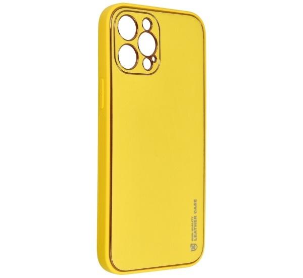 Ochranný kryt Forcell LEATHER pro Apple iPhone 12 Pro Max, žlutá