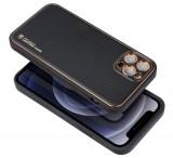 Ochranný kryt Forcell LEATHER pro Apple iPhone 12 Pro Max, černá