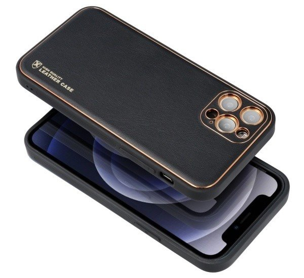 Ochranný kryt Forcell LEATHER pro Apple iPhone 12 Pro, černá